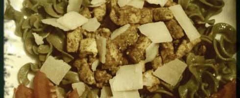 Tofu et pâtes à l'épeautre